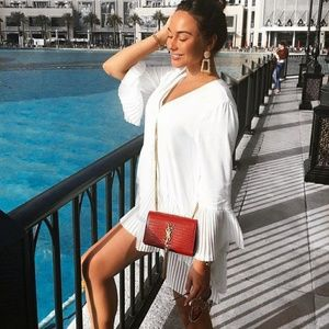 Zara contrasting pleated blouse shirt dress